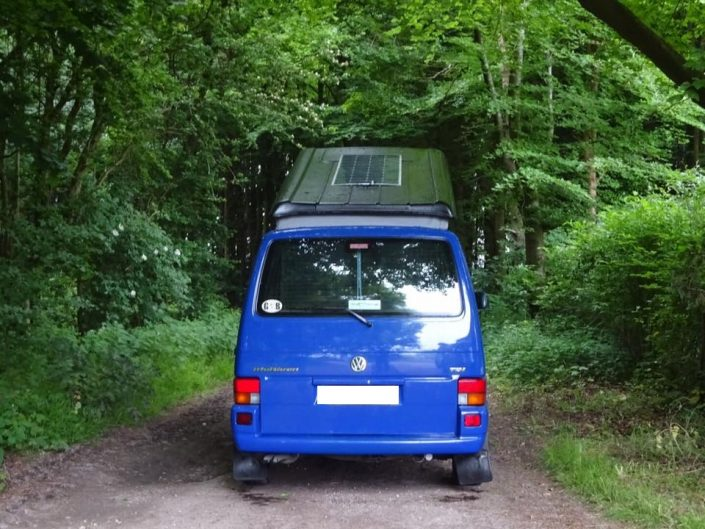 VW T4 conversion with pop top roof and solar panel