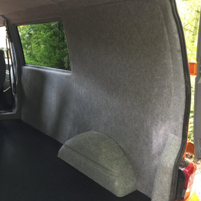Van carpet lining, flooring and windows